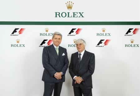 M. Gian Riccardo Marini, Directeur Général de Rolex SA ; M. Bernie Ecclestone, CEO de Formula One group.© Rolex / Eddy Mottaz