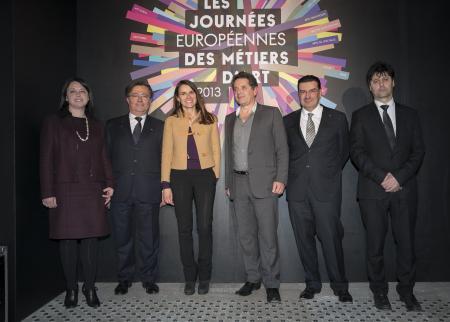 De gauche à droite : Sylvia Pinel, Jean-Michel Delisle, Aurélie Filippetti, Jean de Loisy, Juan-Carlos Torres, Serge Nicole