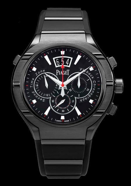 Piaget Polo FortyFive - Boîtier acier et titane avec traitement ADLC noir - Mouvement chronographe extraplat à remontage automatique, fonctions Flyback et GMT - Série limitée et numérotée de 20 pièces pour Dubail