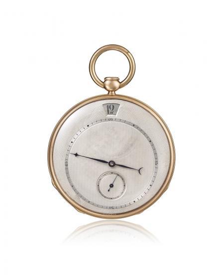 Ref. 11411 - 1827 - Montre de poche, répétition à quarts, heures sautantes, or jaune 18K. Cadran argent, petite seconde à 6H, minuterie.