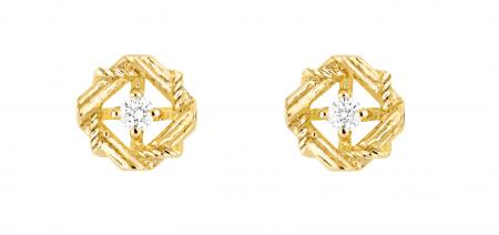 Puces d'oreilles My Dior en or jaune et diamants