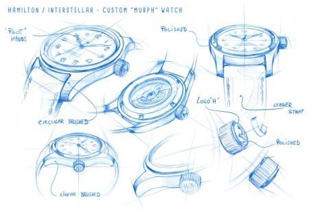 Drawings Hamilton Khaki Special Edition Interstellar - Portée par Murph (joué par Jessica Chastain)