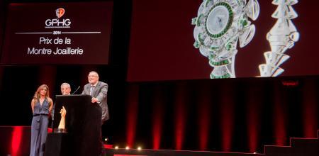 Nazanin Lankarani et Claude Sfeir (membres du jury), Jean-Christophe Babin (CEO de Bulgari, marque lauréate du Prix de la Montre Joaillerie 2014)