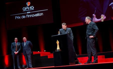 Benjamin Clymer et William Rohr (membres du jury), Felix Baumgartner et Martin Frei (Co-fondateurs de Urwerk, marque lauréate du Prix de l'Innovation 2014)