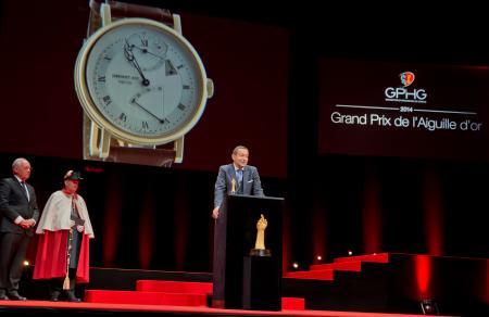 Johann Schneider-Ammann (Conseiller fédéral) et Jean-Charles Zufferey (Vice-président de Breguet, marque gagnante du Grand Prix de l'Aguille d'Or 2014)