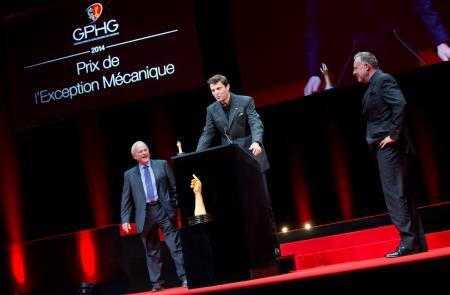 Philippe Dufour (membre du jury) et Felix Baumgartner et Martin Frei (Co-fondateurs de Urwerk, marque lauréate du Prix de l'Exception Mécanique 2014)