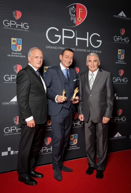 Johann Schneider-Ammann (Conseiller fédéral), Jean-Charles Zufferey (Vice-président de Breguet, marque gagnante du Grand Prix de l'Aguille d'Or 2014) et Carlo Lamprecht (Président de la Fondation du GPHG)