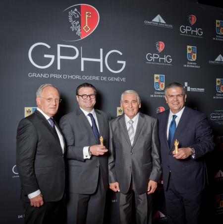 Johann Schneider-Ammann (Conseiller fédéral), Aldo Magada (Président & CEO de Zenith, marque lauréate du Prix de la Montre Sport 2014), Carlo Lamprecht (Président de la Fondation du GPHG) et Ricardo Guadalupe (CEO de Hublot, marque lauréate du Prix de la