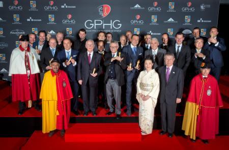 Les Lauréats du Grand Prix d'Horlogerie de Genève 2014 : Bart et Tim Grönefeld (Co-fondateurs de Grönefeld), Kari Voutilainen (Fondateur de Voutilainen), Felix Baumgartner et Martin Frei (Co-fondateurs de Urwerk), Pierre Jacques (CEO de De Bethune), Walte