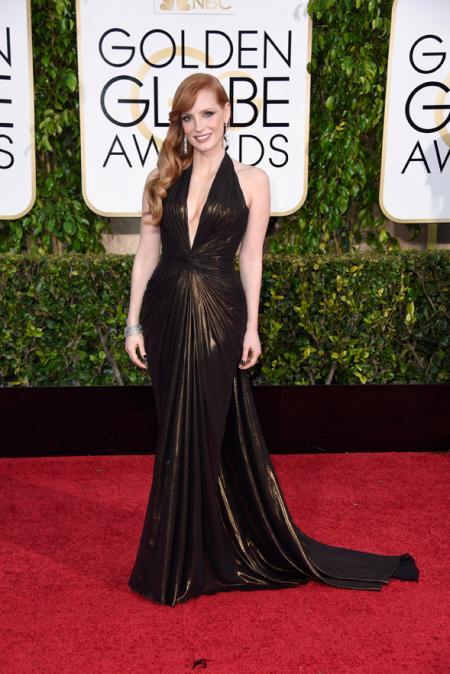 Jessica Chastain, le nouveau visage de la femme Piaget, lors des Golden Globes