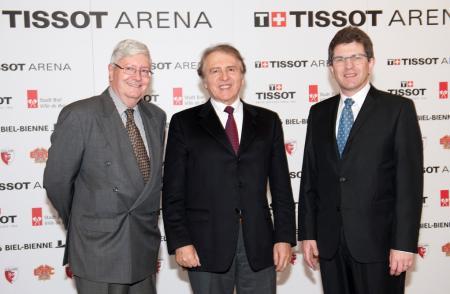Hanspeter Rentsch du Swatch Group, Franc?ois Thiébaud, CEO de Tissor et Erich Fehr, maire de Bienne