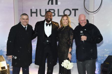 Ricardo Guadalupe, CEO de Hublot, Dwyane Wade, Bar Refaeli et Jean-Claude Biver, Président de la division Montres de LVMH