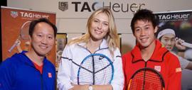 Maria Sharapova, Kei Nishikori (ambassadeurs de la Maison) et Michael Chang - TAG HEUER @ Julio Piatti