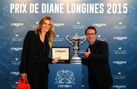 Sophie Thalmann, présidente du jury du Prix Mademoiselle Diane par Longines, et Billy, animateur de télévision