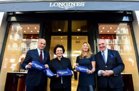Inauguration boutique Longines - Frédéric Bondoux, Florence Ollivier, Steffi Graf, Walter von Känel
