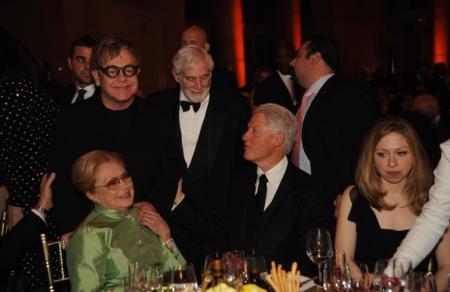 Dr. Krim, Elton John, Bill Clinton & Chelsea Clinton
