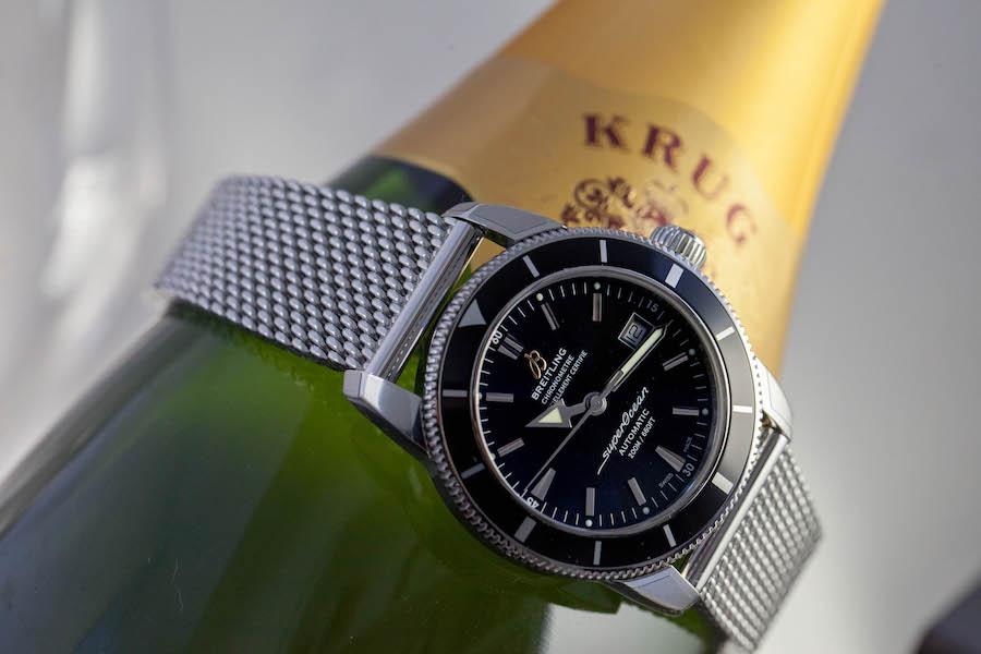 Montre BREITLING Superocean Héritage 42 - Acier - Cadran noir Volcano Mouvement automatique Breitling 17 - Bracelet Ocean Classic