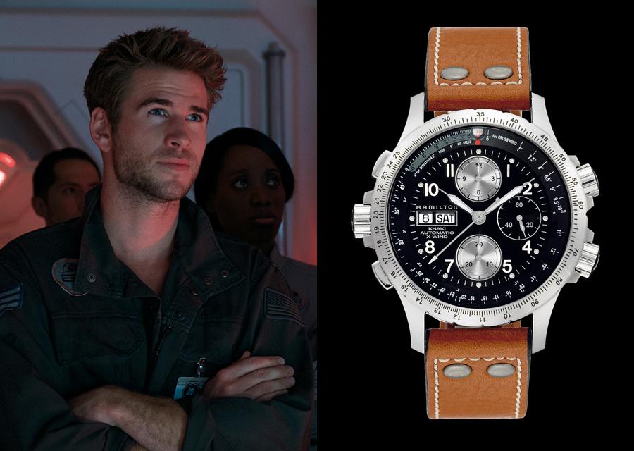 Liam Hemsworth porte le chronographe Hamilton Khaki X-Wind dans Independence Day : Resurgence