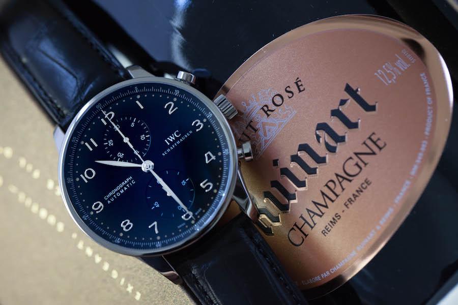 Montre IWC Portugaise Chronographe - Acier - Cadran noir, satiné soleil - mouvement chronographe automatique 79350 - Bracelet alligator noir