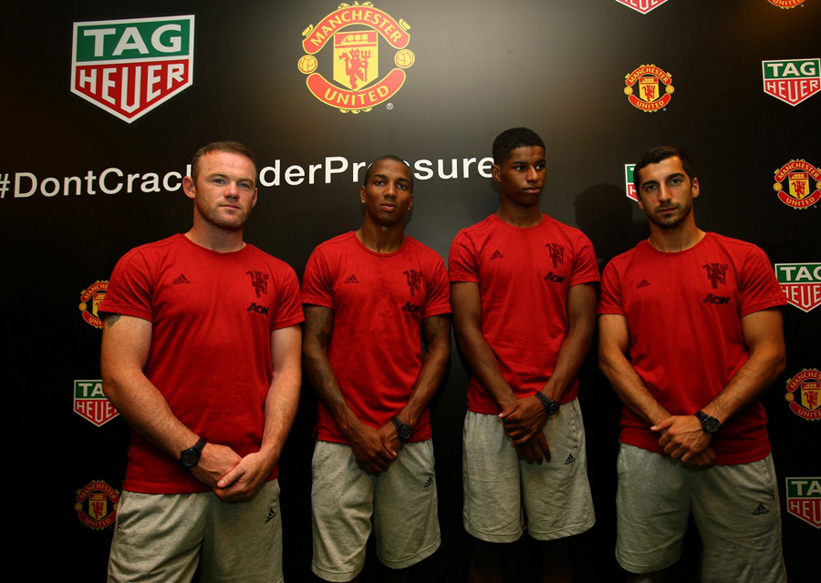 Les représentants de Manchester United présent à l'évènement (En partant de la gauche Wayne_ Rooney, Ashley Young, Marcus Rashford, Henrikh Mkhi