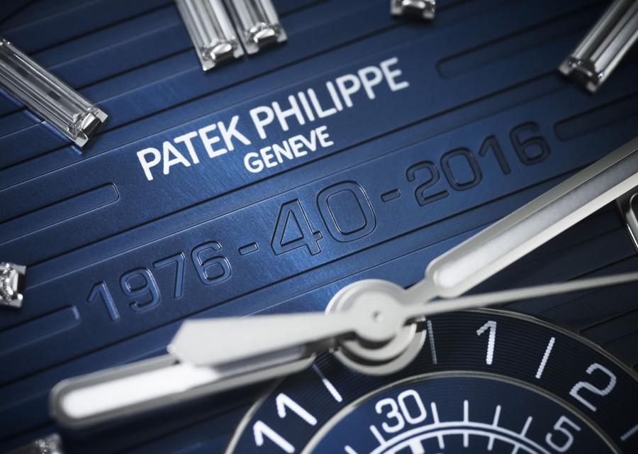 Patek Philippe Nautilus - Détail du cadran de l'édition chronographe anniversaire en or gris