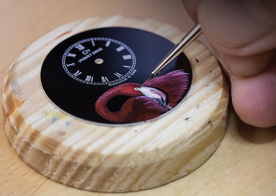Peinture miniature de la Petite Heure Minute Flamant Rose