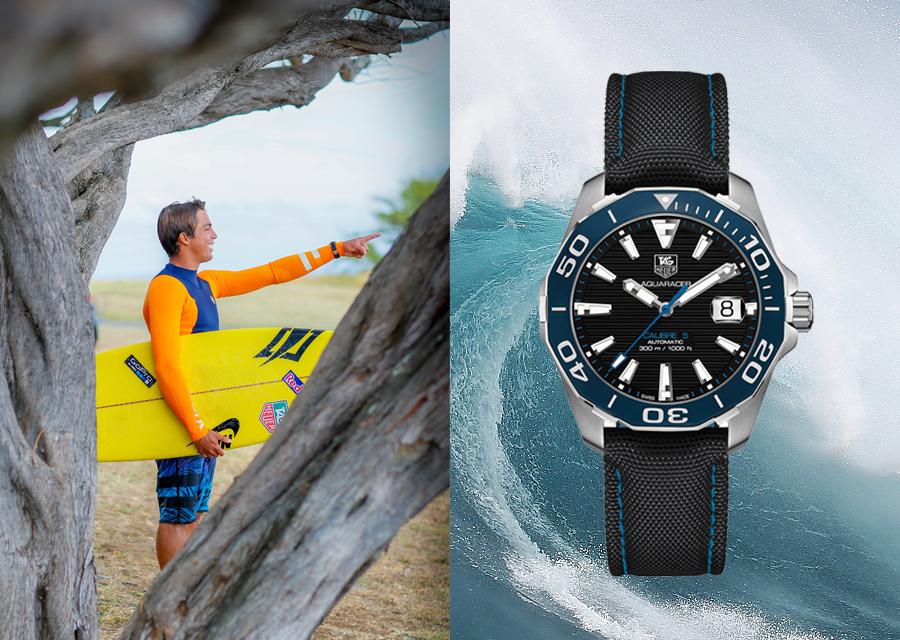 Ambassadeur de TAG Heuer, le surfeur Kai Lenny portera l'Aquaracer 300M au coeur des vagues géantes