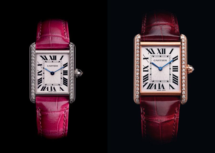 Tank Louis Cartier or blanc diamant petit modèle - Tank Louis Cartier Or rose diamants grand modèle