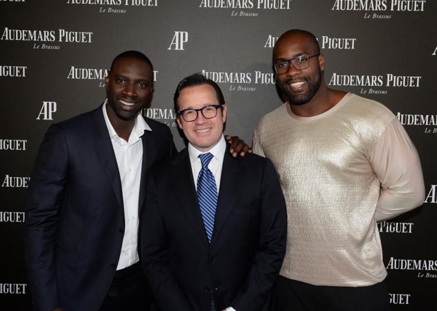 Teddy Riner et Omar Sy, ambassadeurs d'Audemars Piguet, aux côtés de François-Henry Bennahmias, CEO d'Audemars Piguet