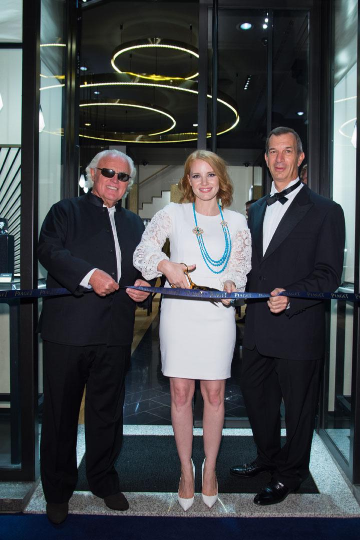 Jessica Chastain était accompagnée de Philippe Léopold-Metzger CEO Piaget et de Monsieur Yves G. Piaget