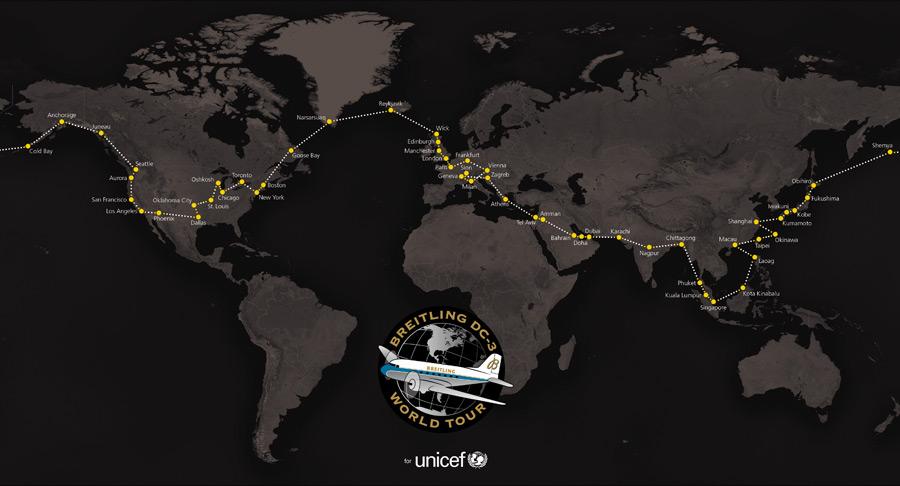Breitling DC-3 Word Tour - Le plan de vol autour du monde