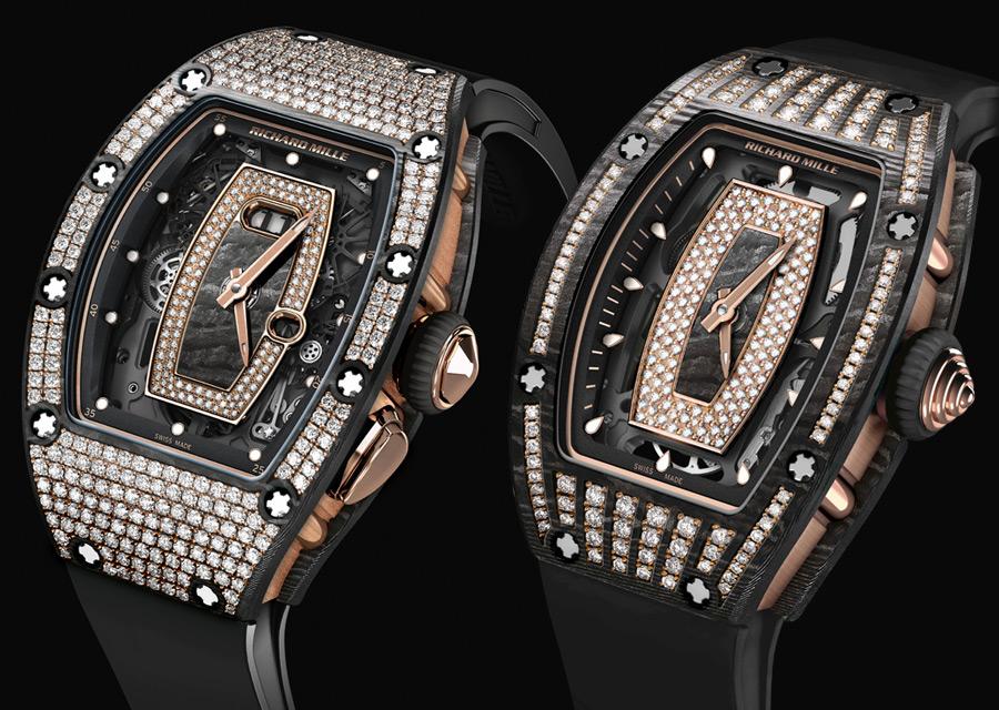 SIHH 2017, Richard Mille RM 07-01 et RM 037 en carbone NTPT serti de diamants