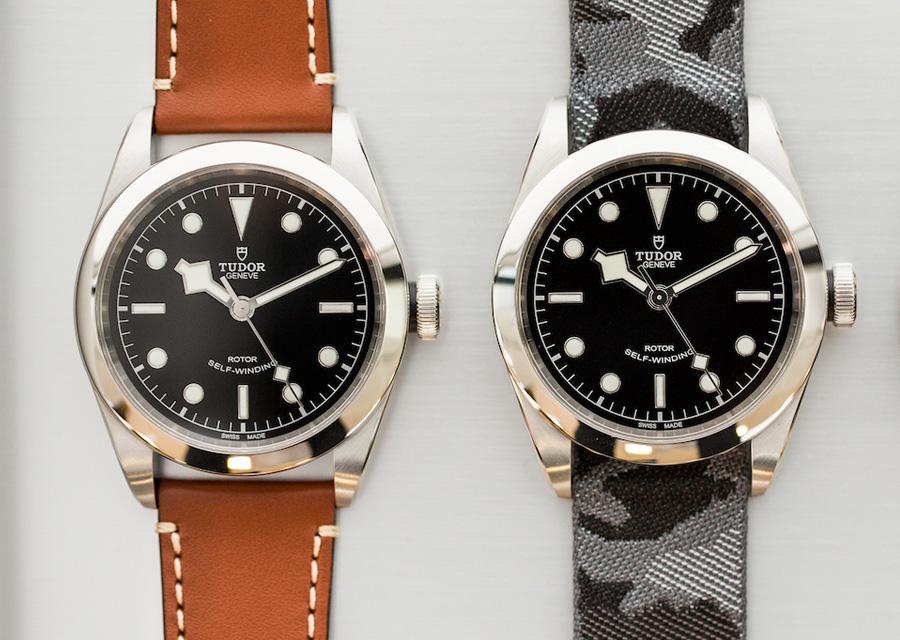 Look vintage pour la Tudor Heritage Black Bay sur bracelet en cuir marron ou tissu camouflage, avec ses aiguilles snowflakes caractérisques
