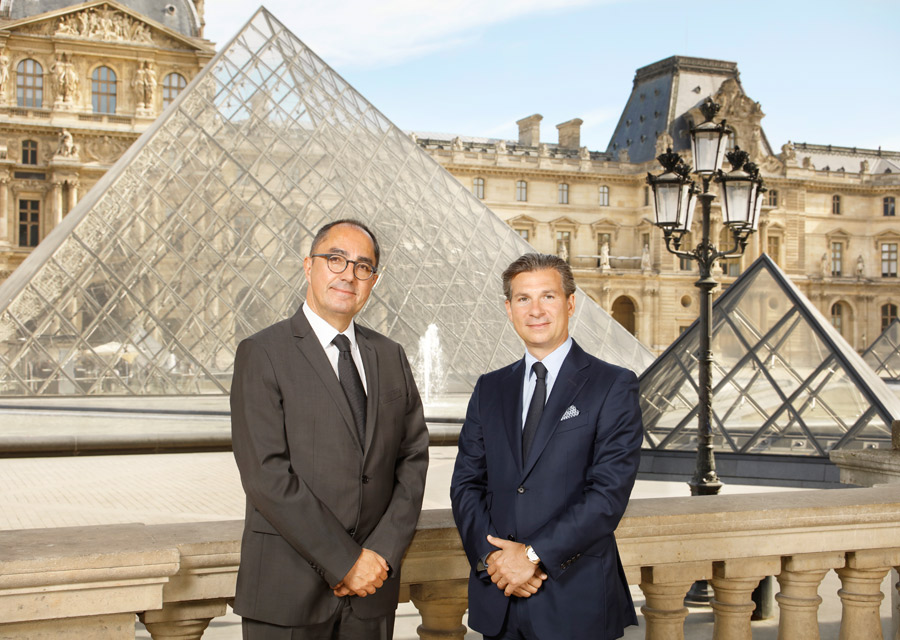 Jean-Luc Martinez, président-directeur du musée du Louvre avec Louis Ferla, PDG de Vacheron Constantin