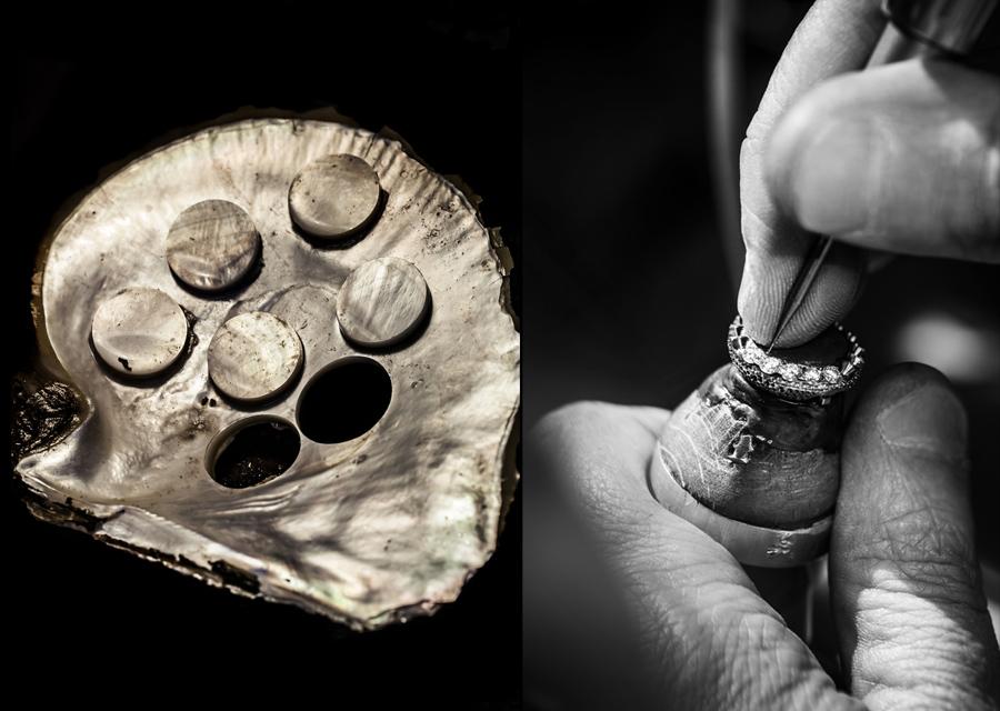 Découpe des disques de nacre et sertissage des diamants dans les aciers de la maison Dior.