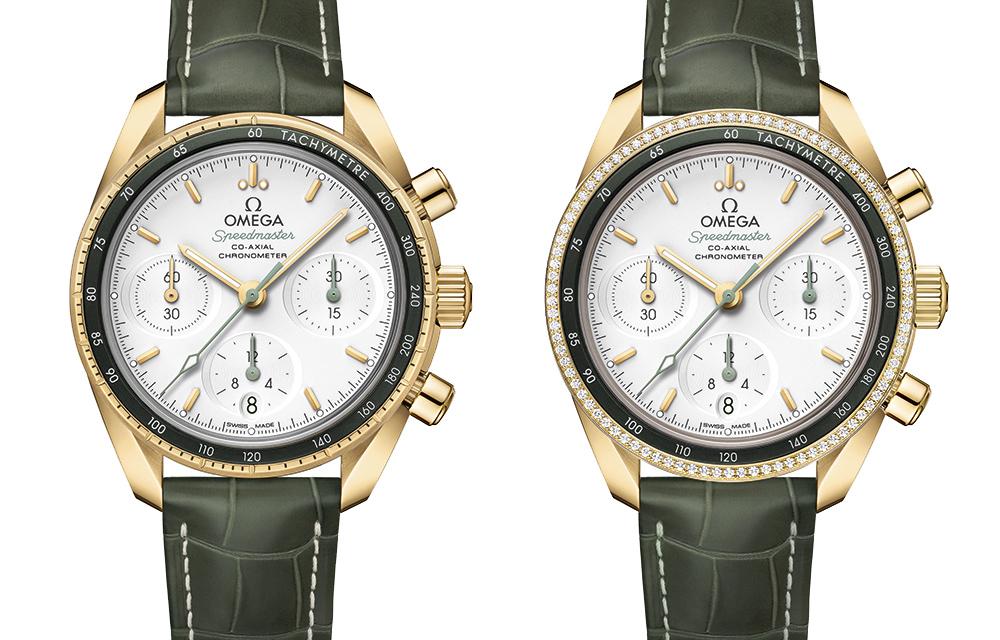 Ces deux versions Omega Speedmaster 38 mm associent l'or jaune à des éléments verts