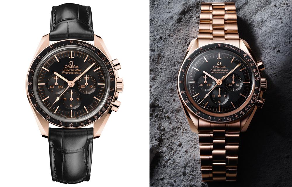 Le modèle Omega Speedmaster Moonwatch Master Chronometer existe aussi en version or Sedna™