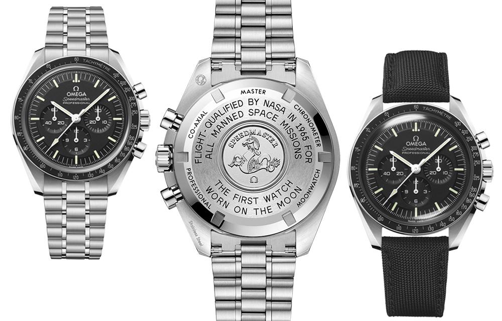 Dans sa version munie d'un verre hésalite comme en 1969, l'Omega Speedmaster Moonwatch Master Chronometer en acier est proposée sur bracelet acier cinq maillons ou sur bracelet en tissu nylon noir