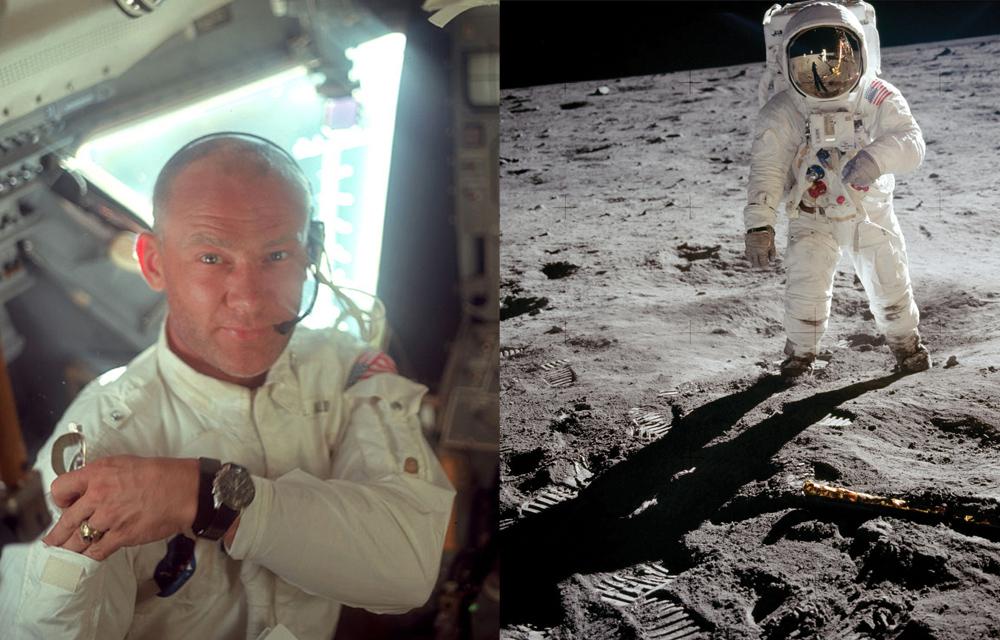 Quinze minutes après Neil Armstrong, le chronographe Omega Speedmaster fait ses premiers pas sur la Lune au poignet de Buzz Aldrin