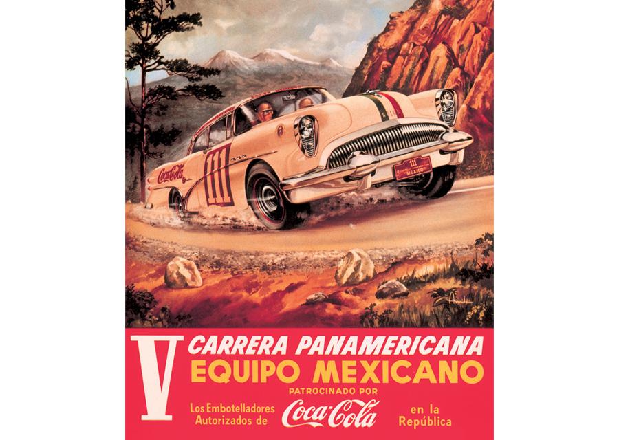 Publicité d'époque de la course Carrera Panamericana dans les années 1950