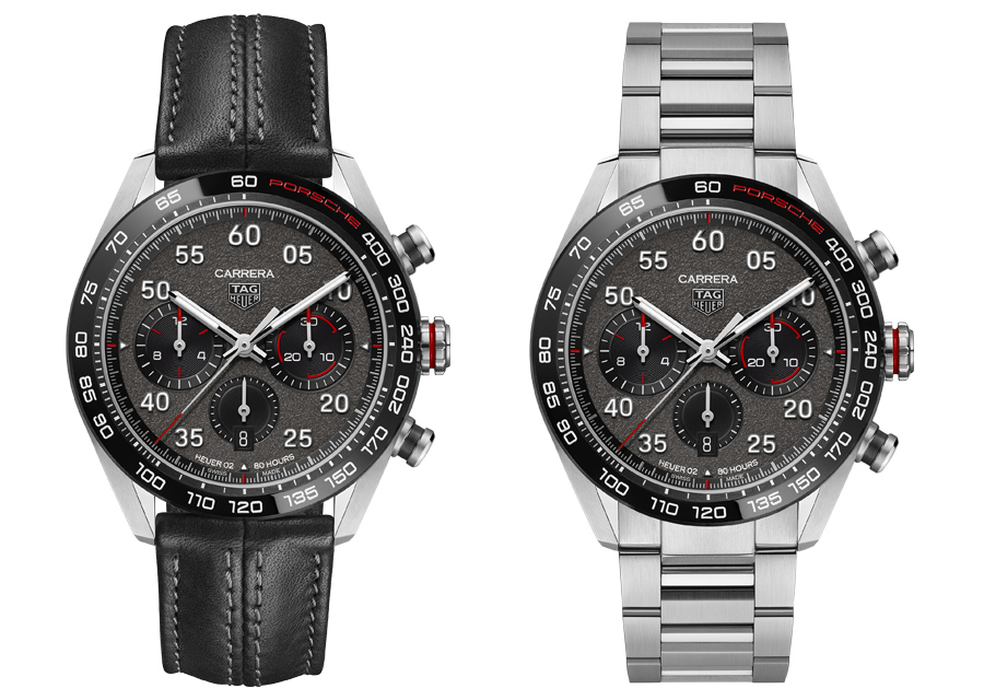 Le Chronographe TAG Heuer Carrera Porsche est proposé en deux versions différentes : en tout acier ou sur bracelet en cuir.