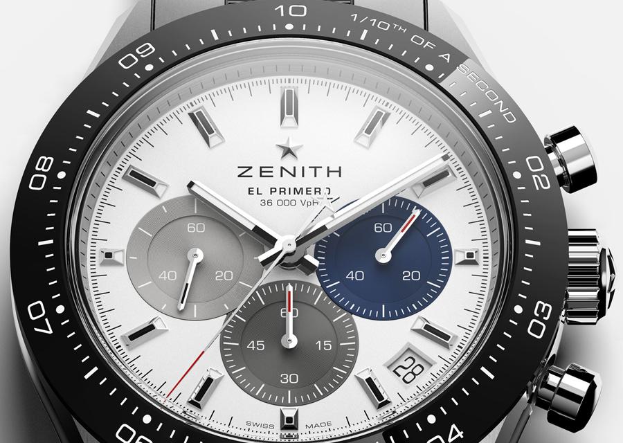 Le cadran du Zenith Chronomaster Sport accueille trois compteurs de couleurs différentes comme le El Primero original à boîte ronde.