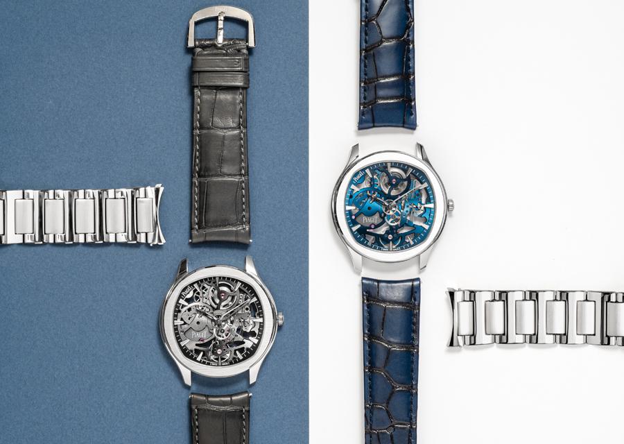 version grise ou bleue, la Polo Skeleton sont livrées avec deux bracelets interchangeables.
