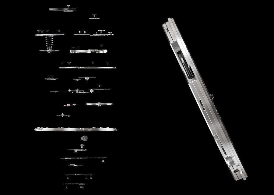 La calibre 1220S de Piaget intègre des pièces presque aussi fines qu'un cheveu.