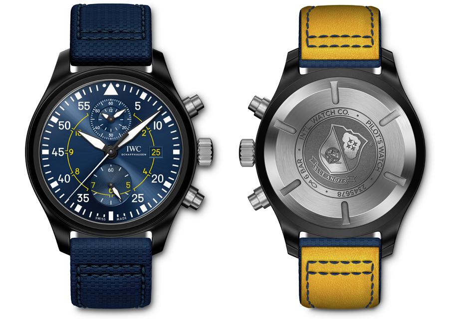 """La Montre d'Aviateur Chronographe Edition """"Blue Angels"""" de IWC arbore l'échelle des minutes sur le pourtour comme les anciennes montres d'observation des années 30 et 40."""