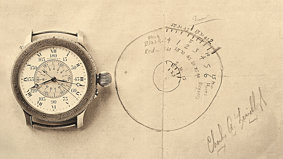 Croquis de Charles Lindbergh et ancienne version de la Montre Longines Lindberg à Angle Horaire