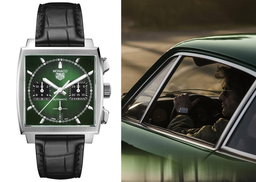 La TAG Heuer Monaco Green Dial est animée par le mouvement chronographe automatique Heuer 02