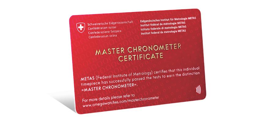 METAS délivre une carte avec l'obtention de la certification Master Chronometer