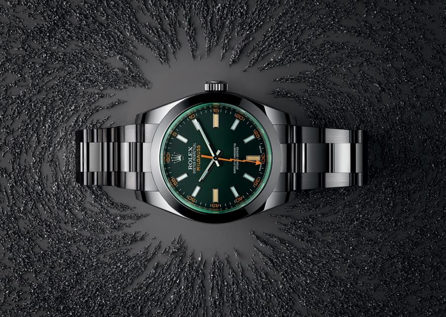 La montre Rolex Milgauss doit son nom à sa résistance aux champs magnétiques jusqu'à 1000 gauss