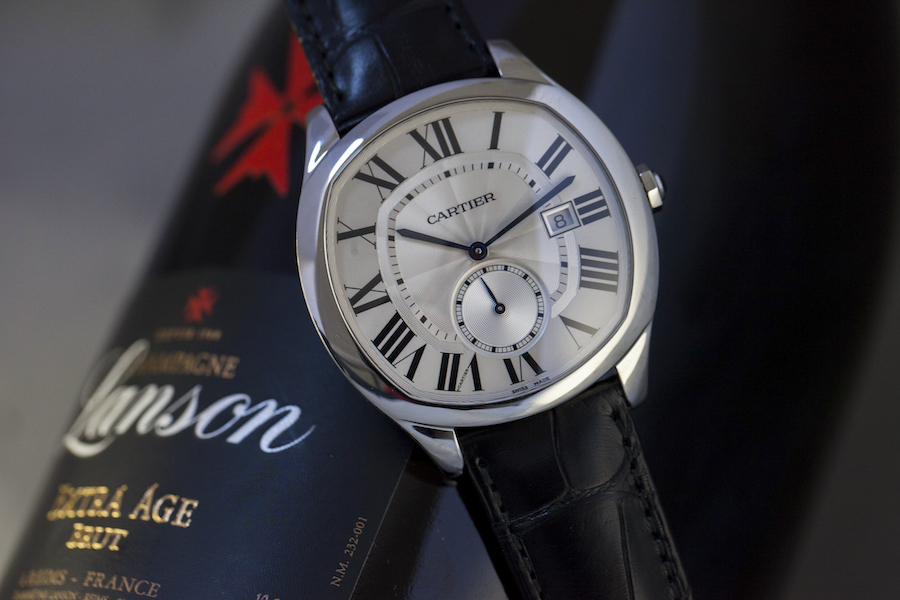 Drive de Cartier watch - Steel - Silvered dial - Selfwinding caliber Manufacture Cartier 1904-PS MC - Black alligator strap